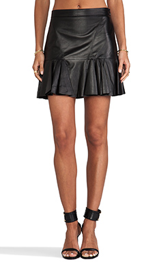 10 CROSBY DEREK LAM Leather Ruffle Skirt in Black