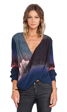 10 CROSBY DEREK LAM Long Sleeve Wrap Front Blouse in Indigo Multi