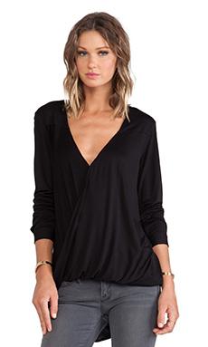 DEREK LAM 10 CROSBY Long Sleeve Wrap Front Blouse in Black