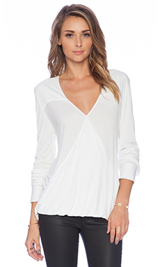 10 CROSBY DEREK LAM Drape Front Top in Soft White