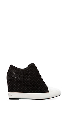 10 CROSBY DEREK LAM Meryl Sneaker Wedge with Calf Fur in Black