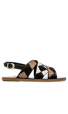 DEREK LAM 10 CROSBY Poet Sandal with Calf Fur in Black/White