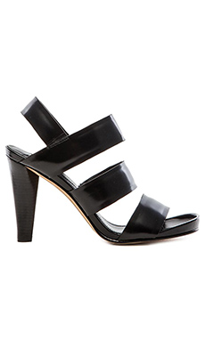DEREK LAM 10 CROSBY Fennel Sandal in Black High Shine Calf