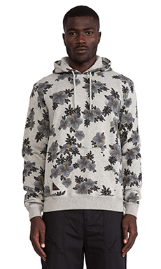 10 Deep Hibiscus Hoodie in Heather Grey