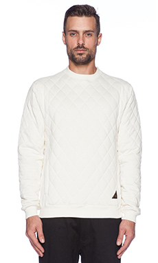 10 Deep X-Box Quilted Crew in Off White