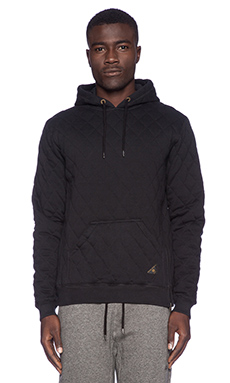 10 Deep X-Box Quilted Hoodie in Black
