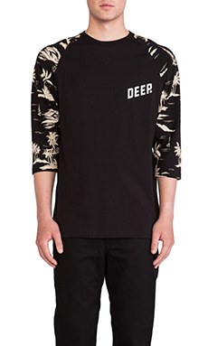 10 Deep Black Sands 3/4 Sleeve Baseball Tee in Black