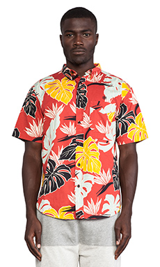 10 Deep Birds of Paradise S/S Button Down in Red