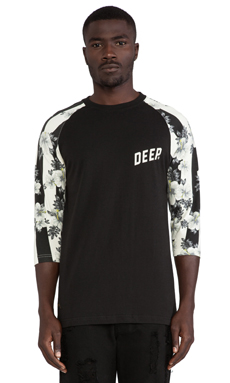 10 Deep Slope 3/4 Sleeve Baseball Tee in Black