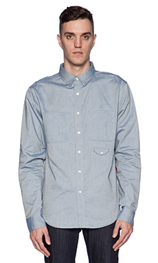 10 Deep Red Tail Work Shirt in Lt. Blue Oxford