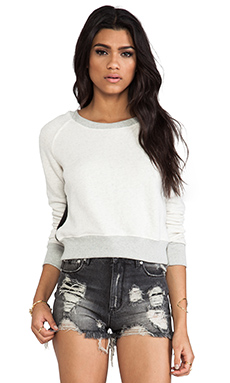 19 4t Crop Sweater in Cream & Black Faux Fur