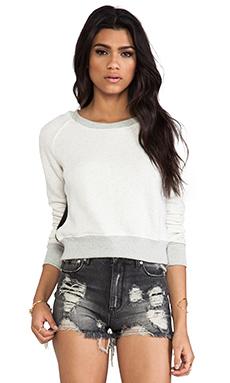 19 4t Crop Sweater in Cream & Black Faux Fur