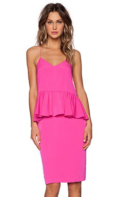 1. STATE Ruffle Waist Midi Dress in New Fuchsia