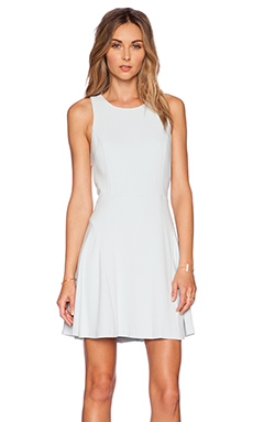 1. STATE Sleeveless Fit & Flare Godet Dress in Icicle