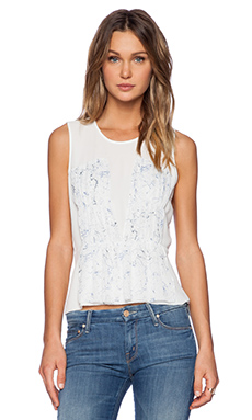 1. STATE Sleeveless Crinkle Pleat Splatter Blouse in Light Cream
