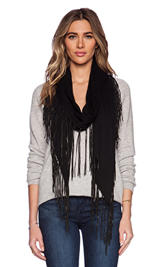 27 miles malibu Dede Leather Fringe Scarf In Black