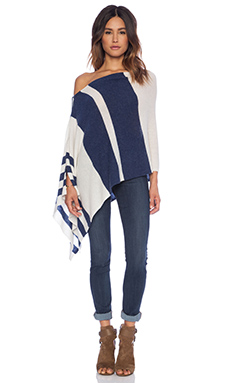27 miles malibu Chumash Stripe Poncho in Navy & Cloud