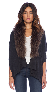27 miles malibu Danica Faux Fur Cardigan in Shadow & Driftwood
