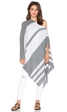 27 miles malibu Lexi Stripe Poncho in Charcoal Dove