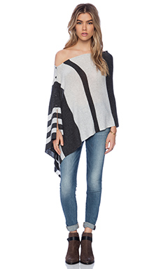27 miles malibu Chumash Stripe Poncho in Shadow & Dove