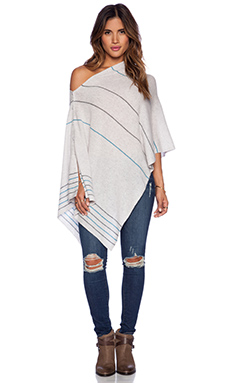 27 miles malibu Chumash Mini Stripe Poncho in Dove Combo