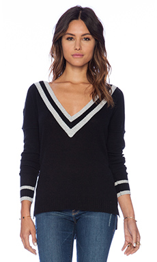 27 miles malibu Claudia Deep V Sweater in Black & Dove