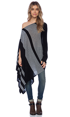 27 miles malibu Lexi Stripe Poncho in Black & Charcoal