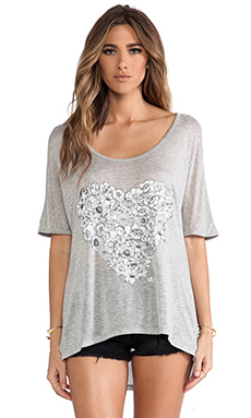 291 Flower Heart Oversized Tunic in Heather Grey