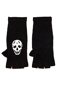 360 Sweater Luther Fingerless Glove in Black/Ivory