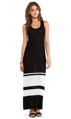 360 Sweater Genevieve Maxi Dress in Black& White Stripes