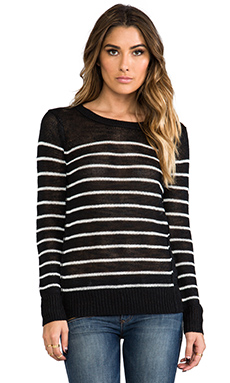 360 Sweater Evie Stripe Sweater in Black & White