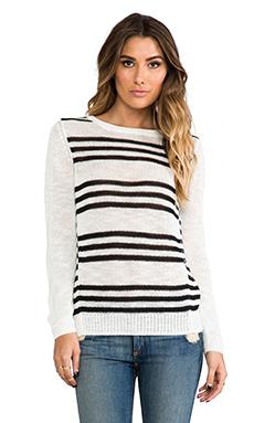 360 Sweater Astra Stripe Sweater in White & Black
