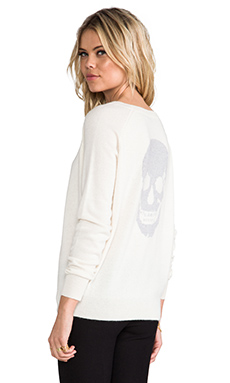 Skull Cashmere Luther Crew Neck Sweater in Ivory & Powder Grey