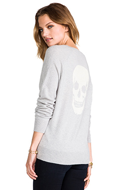 360 Sweater Luther Skull Sweater in Powder Grey & Ivory