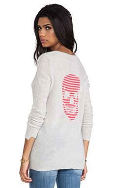 360 Sweater Stripey Cashmere Sweater in Dove/Rosita Intarsia