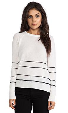 360 Sweater Gia Cashmere Stripe Sweater in Ivory & Black Stripe