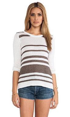 360 Sweater Jagger Sweater in White & Cocoa Stripes