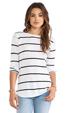 360 Sweater Shy Striped Sweater in White & Black