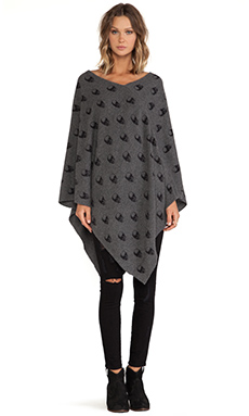 360 Sweater Skull Tunic in Charcoal & Black