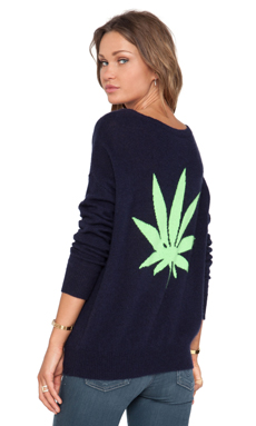 360 Sweater Cannabis Long Sleeve Top in Navy & Limeade