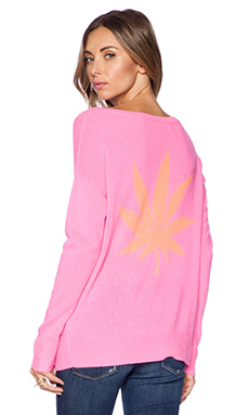 360 Sweater Cannabis Long Sleeve Top in Electric Pink & Tangerine
