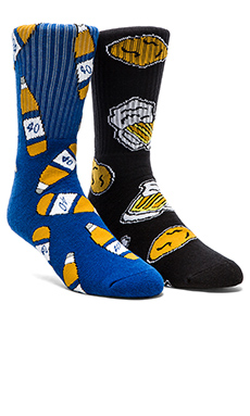 40's & Shorties Chicken N' Beer & 40's Blue Socks in Black & Blue
