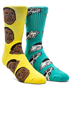 40's & Shorties Ice Cream & Lambo Socks in Yellow & Teal