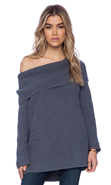 525 america Heritage Off the Shoulder Sweater in Steel