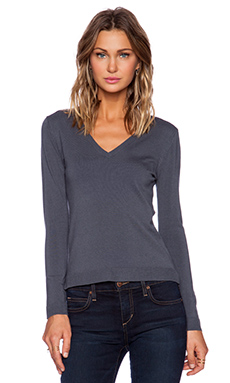 525 america V Neck Sweater in Steel
