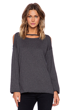 525 america Cold Shoulder Scoop Neck Sweater in Dark Heather Grey