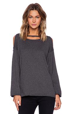 525 america Cold Shoulder Scoop Neck Sweater in Dark Heather Grey