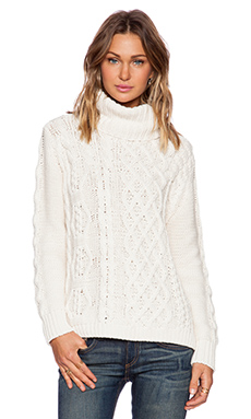 525 america Hi Lo Patchwork Cable Turtleneck in Whitecap