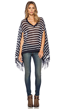 525 america Stripe V Neck Poncho in Classic Navy