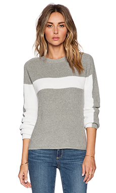 525 america Racer Chest Stripe Sweater in True Heather Grey Combo